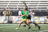 Towson, MD - March 25, 2017: Oregon Ducks Jill Zubillaga (15) passes the ball during game between Towson and Oregon at  Minnegan Field at Johnny Unitas Stadium  in Towson, MD. March 25, 2017.  (Photo by Elliott Brown/Media Images International)