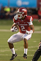 Hawgs Illustrated/BEN GOFF <br /> Chase Hayden, Arkansas running back, carries the ball in the second quarter against Florida A&M Thursday, Aug. 31, 2017, during the game at War Memorial Stadium in Little Rock.