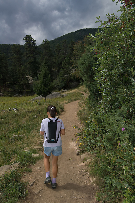 family hike in Rocky Mountain National Park, summer, near Estes Park, Colorado, USA, model released (#95).