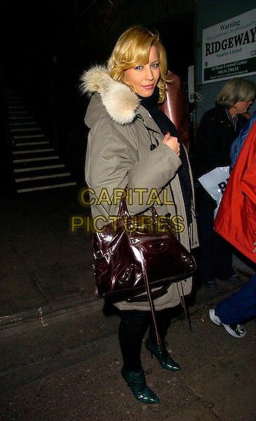 "DENISE VAN OUTEN.The ""Night Of The Snow Queen"" - VIP charity gala afterparty, Bungalow 8 bar & nightclub, St. Martin's Lane, London, England..December 12th, 2007.full length green shoe boots red brown patent leather bag purse oversized fur hood hooded coat jacket green .CAP/CAN.©Can Nguyen/Capital Pictures"