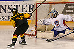 07.01.2020, BLZ Arena, Füssen / Fuessen, GER, IIHF Ice Hockey U18 Women's World Championship DIV I Group A, <br /> Deutschland (GER) vs Frankreich (FRA), <br /> im Bild Eline Gillodes (FRA, #1) kann Schuss von Luisa Welcke (GER, #13) an den Pfosten lenken<br /> <br /> Foto © nordphoto / Hafner