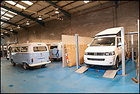 BNPS.co.uk (01202 558833)<br /> Pic: LauraJones/BNPS<br /> <br /> The workshop at Danbury MotorCaravans.<br /> <br /> The last ever delivery of brand new Volkswagen campervans has arrived in Britain marking the end of an era for the iconic 'hippy bus'.<br /> <br /> Ninety nine of the final batch of vans rolled off the production line and onto a container ship bound for British shores after manufacture ceased for good in Brazil in December.<br /> <br /> And though the consignment has only just arrived, almost all of the vans have already been snapped up by eager buyers happy to fork out the &pound;35,000 starting price.<br /> <br /> They are the last brand new campers in all of Europe.