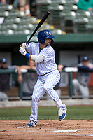 South Bend Cubs first baseman Levi Jordan (5) at bat against the Lake County Captains on May 30, 2019 at Four Winds Field in South Bend, Indiana. The Captains defeated the Cubs 5-1.  (Andrew Woolley/Four Seam Images)