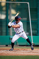 GCL Braves designated hitter Michael Mateja (14) at bat during the first game of a doubleheader against the GCL Yankees West on July 30, 2018 at Champion Stadium in Kissimmee, Florida.  GCL Yankees West defeated GCL Braves 7-5.  (Mike Janes/Four Seam Images)