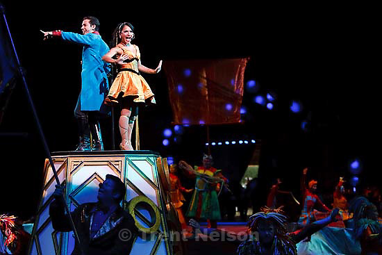 The Zingmaster (left, Alex (Gonzalez) Ramon) and Levitytia (Clara Ruiz) make their entrance during the opening at the Ringling Bros. and Barnum & Bailey Circus at EnergySolutions Arena Thursday, September 24 2009 in Salt Lake City.