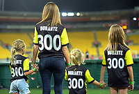 Andrew Durante's family wait for him to leave the pitch after the A-League football match between Wellington Phoenix and Central Coast Mariners at Westpac Stadium in Wellington, New Zealand on Saturday, 12 January 2019. Photo: Dave Lintott / lintottphoto.co.nz