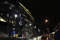 The club crest (cockerel on a ball) on the west stand of Tottenham new stadium at night at White Hart Lane, London, England on 5 February 2019. Photo by Vince  Mignott.