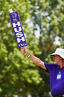 A volunteer holds a quiet sign (Memphis style) near the green on 12 during round 2 of the WGC FedEx St. Jude Invitational, TPC Southwind, Memphis, Tennessee, USA. 7/26/2019.<br /> Picture Ken Murray / Golffile.ie<br /> <br /> All photo usage must carry mandatory copyright credit (© Golffile | Ken Murray)