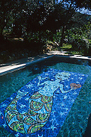 Artist Beazy Bailey has created a mosaic mermaid on the floor of his outdoor swimming pool
