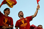 02.07.2012. Navas (l) and Sergio Ramos during Tour of Madrid of the Spanish football team to celebrate their victory in Euro 2012 july 2012.(ALTERPHOTOS/ARNEDO)