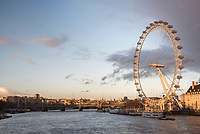 The London Eye at sunset (Millennium Wheel), South Bank, London, England