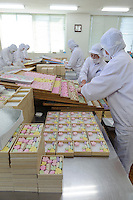 Wasanbon sweets, Baikodo Inc, Hiketa, Kagawa Pref, Japan, February 2, 2012. Wasanbon is a special kind of hand-made Japanese sugar often used for traditional sweets. It is finer, more fragrant and more expensive than normal sugar. It is a specialty of Kagawa Prefecture on the island of Shikoku. Baikodo has been making Wasanbon for over 50 years.