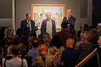 "Pictured L-R: Dionysios Kalavrezos, Greek Ambassador to Belgium, artist Stefanos Rokos and gallerist Peter Bernaerts.  Tuesday 03 September 2019<br /> Re: Opening of ""No More Shall We Part, 14 Paintings, 17 Years Later"", a collection of paintings based on the Nick Cave and the Bad Seeds album with the same name, by Stefanos Rokos at Bernerts Gallery in Antwerp, Belgium."