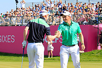 Team Ireland / Paul Dunne &amp; Gavin Moynihan during day 2 of the GolfSixes played at The Centurion Club, St Albans, England. <br /> 06/05/2018.<br /> Picture: Golffile | Phil Inglis<br /> <br /> <br /> All photo usage must carry mandatory copyright credit (&copy; Golffile | Phil Inglis)