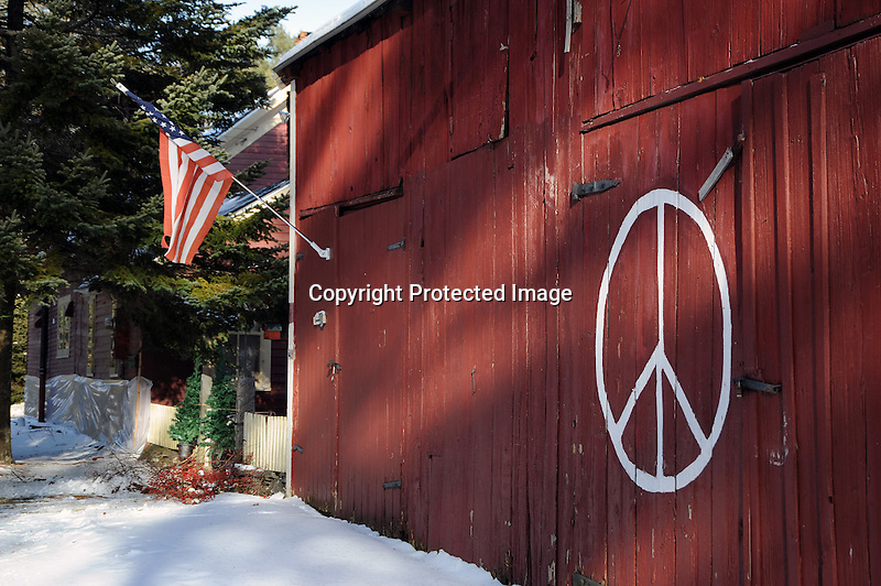 Peace Symbol on Barn in the Rural Village of Marlow, New Hampshire