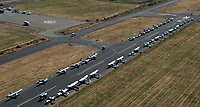 aerial photograph of airplanes parked on Runway 7R at the Aircraft Owners and Pilots Association (AOPA) Fly-In June 21-22, 2019 at the Livermore Municipal Airport (LVK), Livermore, Alameda County, CA