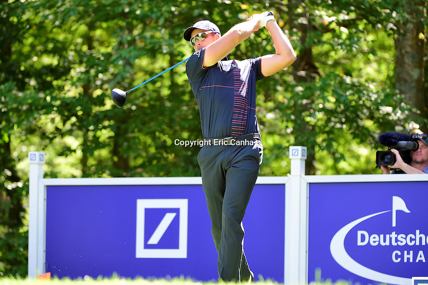 Friday, September 2, 2016:  Henrik Stenson of Sweden watches the flight of his ball down the 9th fairway during the first round of the Deutsche Bank Championship tournament held at the Tournament Players Club, in Norton, Massachusetts.  Eric Canha/Cal Sport Media