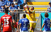 Torwart Daniel Heuer Fernandez (SV Darmstadt 98) h&auml;lt - 05.08.2018: SV Darmstadt 98 vs. SC Paderborn 07, Stadion am Boellenfalltor, 1. Spieltag 2. Bundesliga<br /> <br /> DISCLAIMER: <br /> DFL regulations prohibit any use of photographs as image sequences and/or quasi-video.