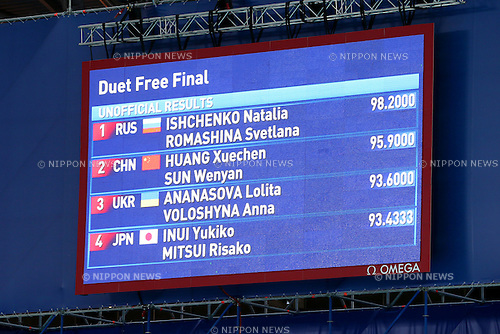 Scoreboard, JULY 30, 2015 - Synchronised Swimming : 16th FINA World Championships Kazan 2015 Duets Free Routine Medal Ceremony  at Kazan Arena in Kazan, Russia. (Photo by Yohei Osada/AFLO SPORT)