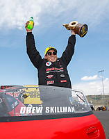 Jul 23, 2017; Morrison, CO, USA; NHRA pro stock driver Drew Skillman celebrates after winning the Mile High Nationals at Bandimere Speedway. Mandatory Credit: Mark J. Rebilas-USA TODAY Sports