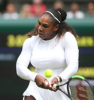 Serena Williams (USA) during her victory against Camila Giorgi (ITA) in their Ladies' Quarter Final match<br /> <br /> Photographer Rob Newell/CameraSport<br /> <br /> Wimbledon Lawn Tennis Championships - Day 8 - Tuesday 10th July 2018 -  All England Lawn Tennis and Croquet Club - Wimbledon - London - England<br /> <br /> World Copyright &not;&copy; 2017 CameraSport. All rights reserved. 43 Linden Ave. Countesthorpe. Leicester. England. LE8 5PG - Tel: +44 (0) 116 277 4147 - admin@camerasport.com - www.camerasport.com