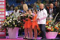SCHAATSEN: HEERENVEEN: Thialf, Essent ISU World Cup, 02-03-2012, Prizegiving Ceremony, Referee Men Hannu Koivu (FIN), Organizing Committee Gerrit Kramer, ©foto: Martin de Jong
