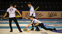 Glasgow. SCOTLAND. Scotland's Hammy McMILLAN, approahing the &quot;Hog Line&quot; with his &quot;Stone&quot; during the, Le Gruy&egrave;re European Curling Championships. 2016 Venue, Braehead  Scotland<br /> Sunday  20/11/2016<br /> <br /> [Mandatory Credit; Peter Spurrier/Intersport-images]