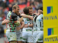 London, England. Chris Robshaw (Captain) of Harlequins celebrates with the team after winning 24-19. Saracens and Harlequins Aviva Premiership with a world record crowd for a club rugby match at Wembley Stadium. 31March 2012 at Wembley Stadium, London,England,
