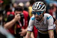 World Champion Alejandro Valverde (ESP/Movistar) at the finish<br /> <br /> Stage 8: Valls to Igualada (167km)<br /> La Vuelta 2019<br /> <br /> ©kramon