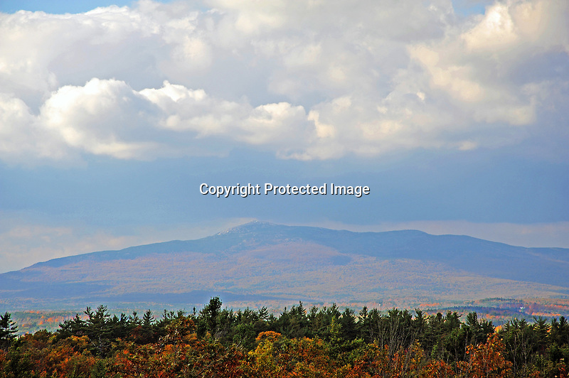 View of Mt. Monadnock under an Overcast Sky in Rindge, New Hampshire USA