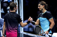 Rafael Nadal of Spain shakes hands with Stan Wawrinka of Switzerland at the ATP World Tour Finals, The O2, London, 2015
