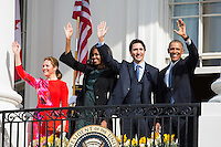 U.S. President Barack Obama (R), Prime Minister of Canada Justin Trudeau (C-R), U.S. First Lady Michelle Obama (C-L), and spouse of the Prime Minister of Canada Sophie GrÈgoire Trudeau (L), wave from the balcony of the White House, in Washington, DC, USA, 10 March 2016. This is the first official visit of Prime Minister of Canada Justin Trudeau to the White House. Photo Credit: Jim LoScalzo/CNP/AdMedia