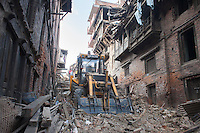 Nepali rescue workers clear rubble at Kathmandu Durbar Square, Nepal. May 03, 2015.