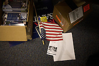 An American flag lays on the ground at the Rick Santorum New Hampshire campaign headquarters in Bedford, New Hampshire, on Jan. 7, 2012.  Santorum is seeking the 2012 Republican presidential nomination.