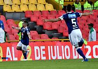BOGOTÁ - COLOMBIA, 22-07-2018: Gabriel Hauche (Izq.), jugador de Millonarios, celebra el gol anotado a Boyaca Chico F. C., durante partido de la fecha 1 entre Millonarios y Boyacá Chicó F. C., por la Liga Aguila II-2018, jugado en el estadio Nemesio Camacho El Campin de la ciudad de Bogota. / Gabriel Hauche(L), player of Millonarios celebrates the scored goal to Boyaca Chico F. C., during a match of the 1st date between Millonarios and Boyaca Chico F. C., for the Liga Aguila II-2018 played at the Nemesio Camacho El Campin Stadium in Bogota city, Photo: VizzorImage / Luis Ramirez / Staff.