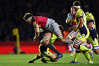Charlie Matthews of Harlequins takes on the Sale Sharks defence. Aviva Premiership match, between Harlequins and Sale Sharks on October 6, 2017 at the Twickenham Stoop in London, England. Photo by: Patrick Khachfe / JMP