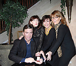"""As The World Turns' Colleen Zenk, Meghan Duffy (L) and Eliza Ventura (R) star in Marrying George Clooney: Confessions from a Midlife Crisis presented by the Cap21 Theatre Company and they pose with """"George Clooney"""" on February 16, 2012 at Madame Tussauds Wax Museum, New York City, New York.  (Photo by Sue Coflin/Max Photos)"""