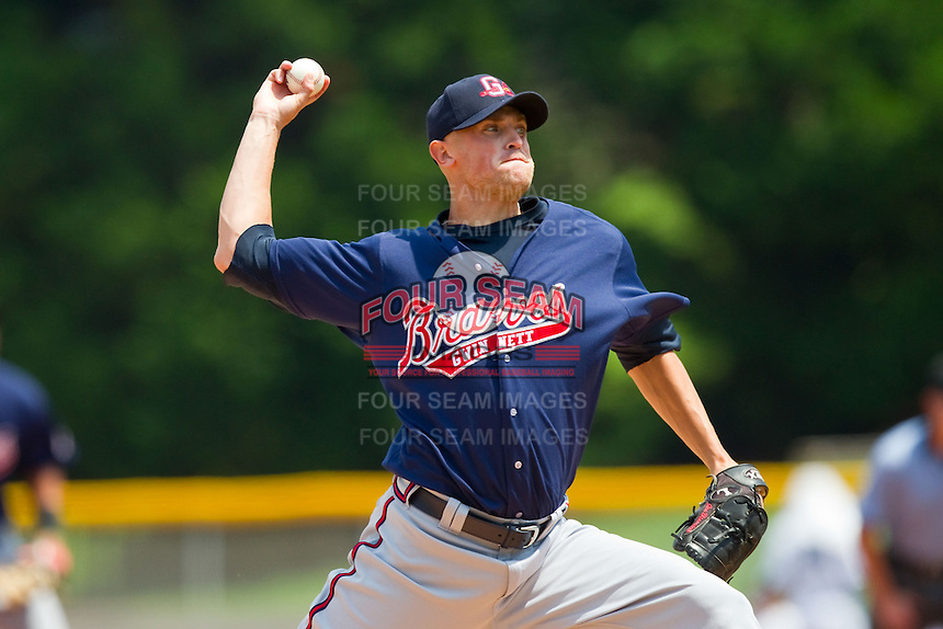 Gwinnett Braves starting pitcher Joe Bisenius (49) in action against the Charlotte Knights at Knights Stadium on July 28, 2013 in Fort Mill, South Carolina.  The Knights defeated the Braves 6-1.  (Brian Westerholt/Four Seam Images)