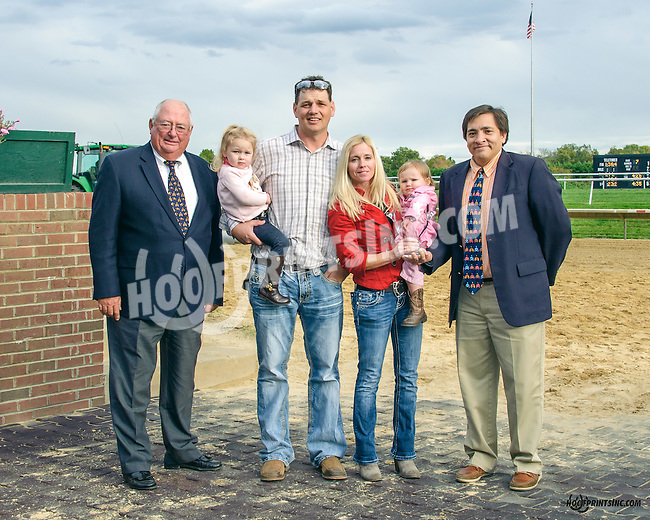 Jed Doro & John Mooney presenting the 2015 Leading Trainer trophy to Jamie Ness & family at Delaware Park on 10/17/15