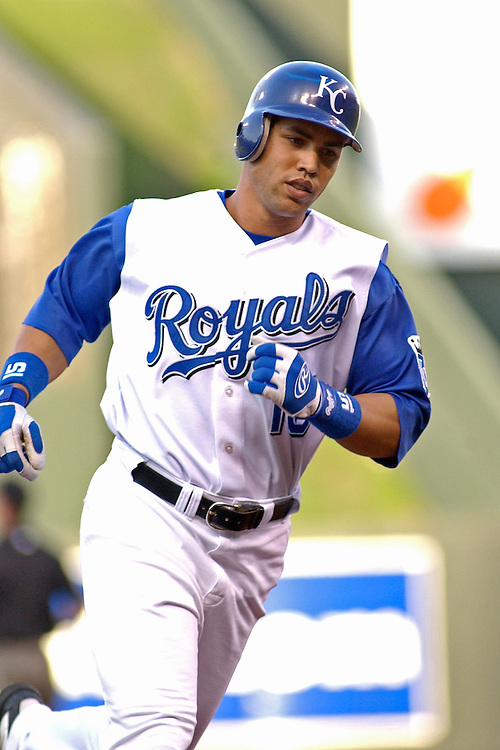 Royals center fielder Carlos Beltran hits a two run home run in the first inning against the Oakland Athletics at Kauffman Stadium in Kansas City, Missouri on May 30, 2003. Kansas City won 11-6.
