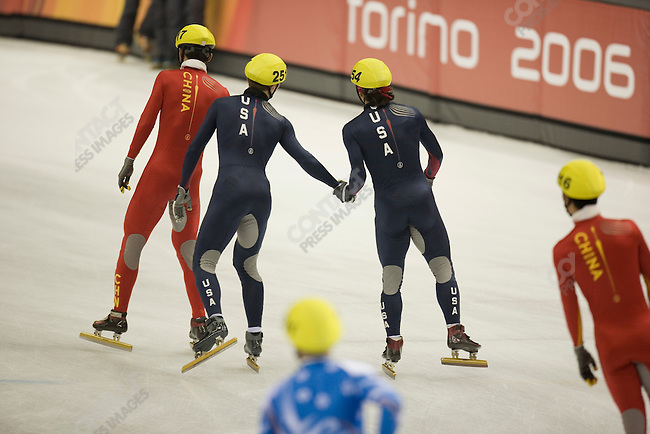 Short track men's 5000m relay semi-final at the Palavela during the Torino Winter Olympics.