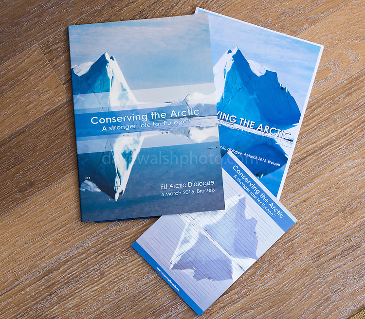 Conserving the Arctic conference materials, Brussels March 2015, with iceberg photography by Dave Walsh.