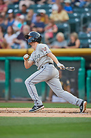Auston Bousfield (32) of the El Paso Chihuahuas bats against the Salt Lake Bees at Smith's Ballpark on August 13, 2018 in Salt Lake City, Utah. Salt Lake defeated El Paso 4-3. (Stephen Smith/Four Seam Images)