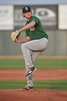 Clinton LumberKings Kyle Wilcox (1) throws during the game against the Cedar Rapids Kernels at Veterans Memorial Stadium on April 15, 2016 in Cedar Rapids, Iowa.  Clinton won 11-5.  (Dennis Hubbard/Four Seam Images)