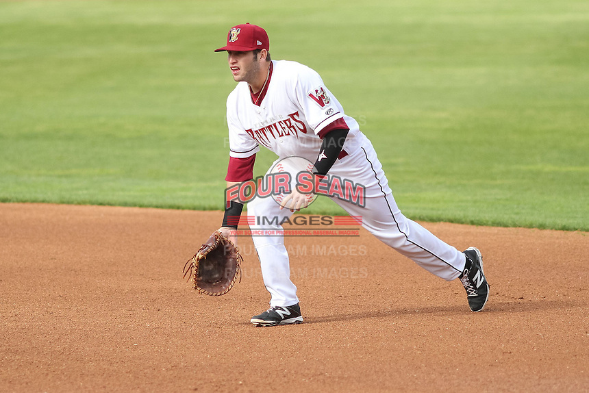 Wisconsin Timber Rattlers first baseman Alan Sharkey (18) during a Midwest League game against the Beloit Snappers on May 30th, 2015 at Fox Cities Stadium in Appleton, Wisconsin. Wisconsin defeated Beloit 5-3 in the completion of a game originally started on May 29th before being suspended by rain with the score tied 3-3 in the sixth inning. (Brad Krause/Four Seam Images)