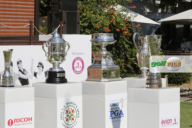 The Major Trophies on display during Wednesday's Pro-Am of the LPGA 2015 Evian Championship, Evian les Bains, France. 09/09/2015.<br /> Picture Eoin Clarke | Golffile