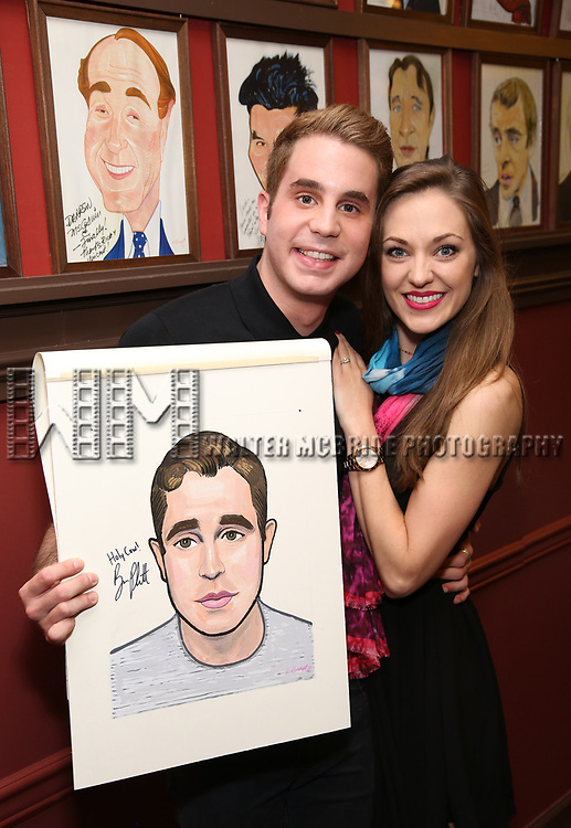 Ben Platt and Laura Osnes attend the Ben Platt Sardi's Portrait unveiling at Sardi's on May 30, 2017 in New York City.