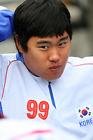 Hyunjin Ryu of Korea during a game against Venezuela at the World Baseball Classic at Dodger Stadium on March 21, 2009 in Los Angeles, California. (Larry Goren/Four Seam Images)