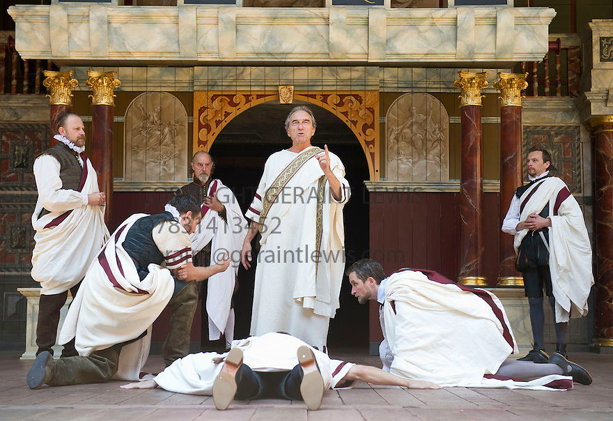 Julius Caesar by William Shakespeare. A Shakespeare's Globe Production directed by Dominic Dromgoogle. With George Irving as Julius Caesar. Opens at Shakespeare's Globe Theatre on 2/7/14  pic Geraint Lewis