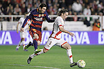 Rayo Vallecano's Manuel Iturra (r) and FC Barcelona's Leo Messi during La Liga match. March 3,2016. (ALTERPHOTOS/Acero)